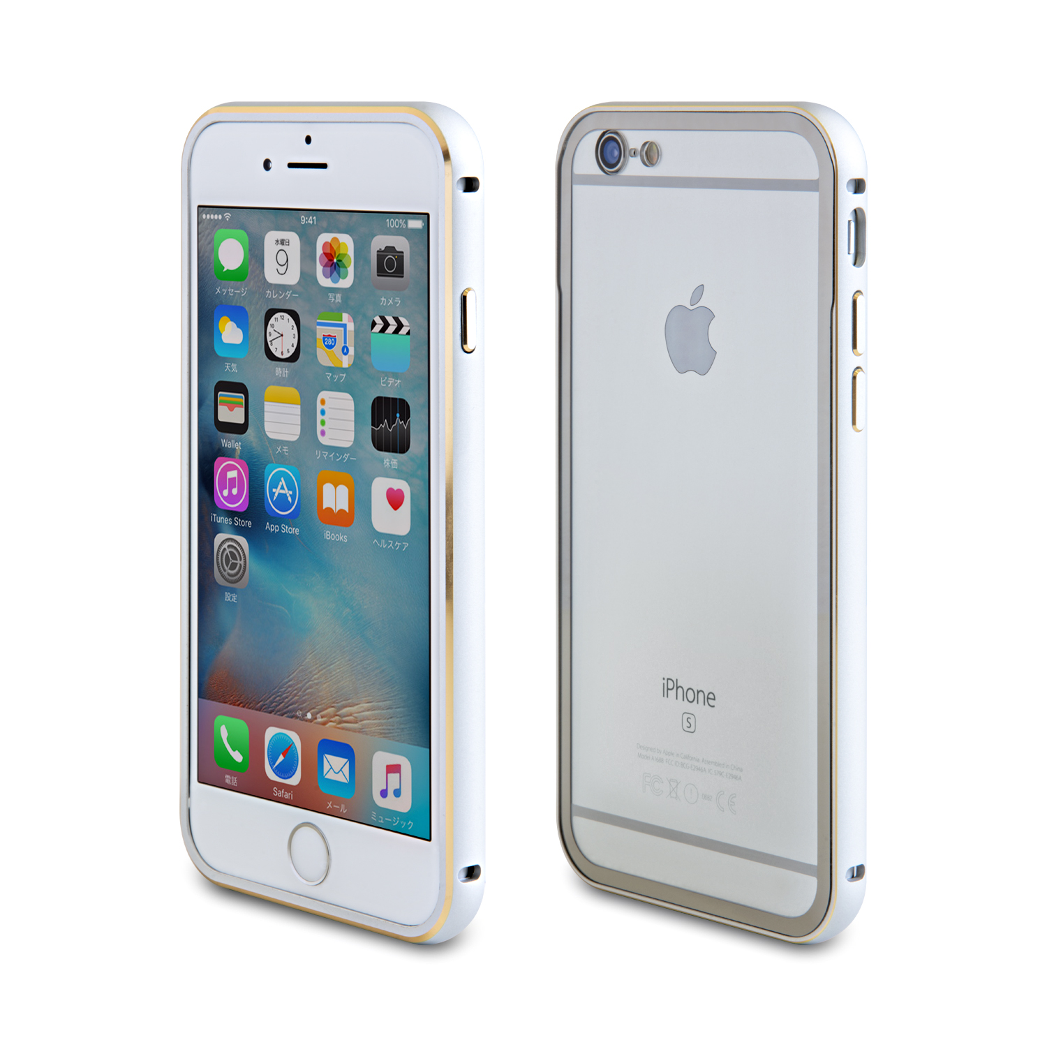 iPhone6/6s アルミバンパー + 背面保護プレート シルバー 装着イメージ